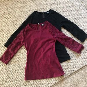 Express Tops - Express 2 tops black and burgundy back zip size s